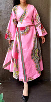 1014 - African Long Wrap Dress / Long Bell Sleeves/ Dashiki Print-Neon Pink / Burgundy