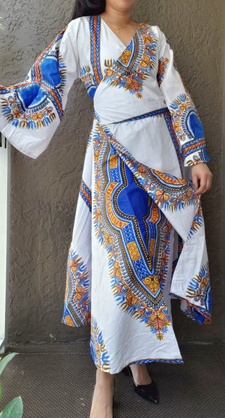 1014 - African Long Wrap Dress / Long Bell Sleeves/ Dashiki Print-  White/Blue