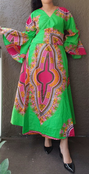 1014 - African Long Wrap Dress / Long Bell Sleeves/ Dashiki Print-Neon Green/ Fuchsia