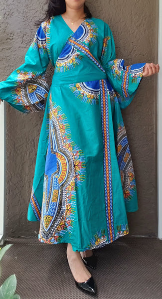 1014 - African Long Wrap Dress / Long Bell Sleeves/ Dashiki Print-  Teal/Blue