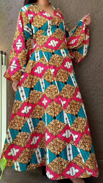 1014 - Long Wrap Dress / Long Bell Sleeves/ African Print