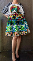 7008- Short Printed Flared Skirt- Abstract