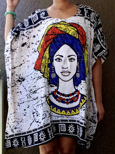 Kaftan Top/ Short Dress/ Ethnic Women Print- White