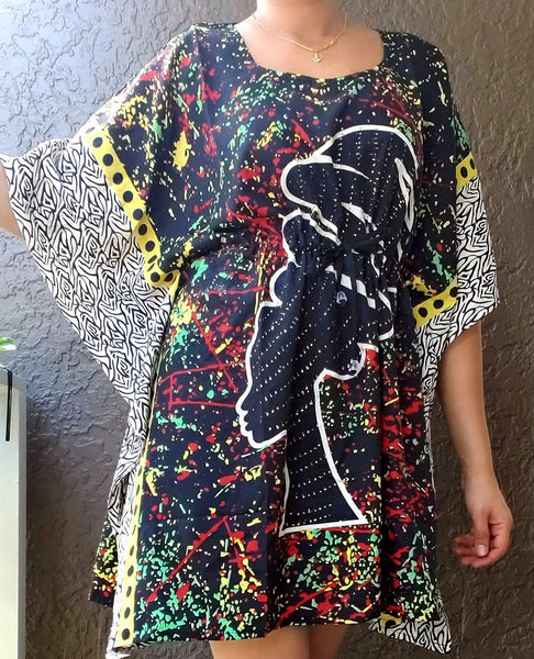 Kaftan Top/ Short Dress/ Ethnic Women Print- Black