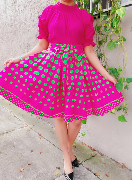 AA524 - Woman short skirt - Pink/Green Polkadot