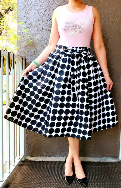 AA530 -Woman Mid Length Skirt - Black/ White Polkadot