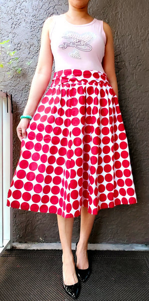 AA530 - Woman Mid Length Skirt - Red/ White Polkadot
