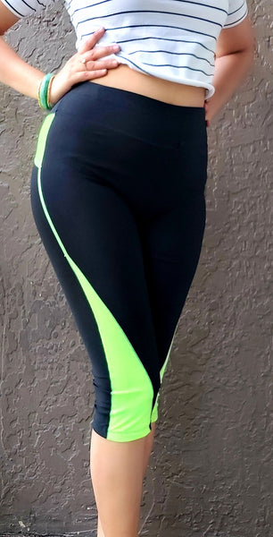702- Workout  Capris / Active Wear Cropped Pant- Color Bind
