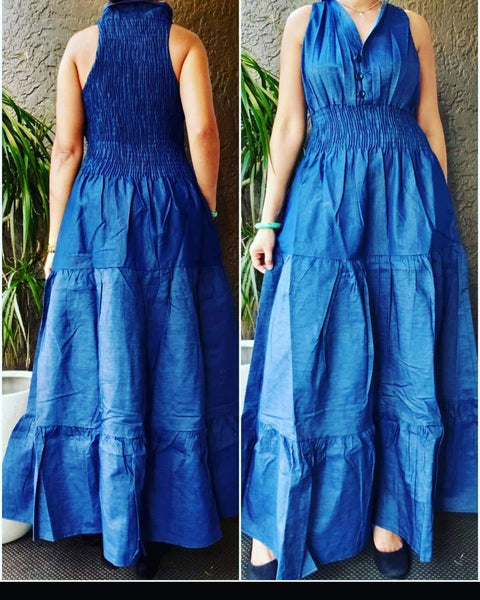 3028L Women Long Smocked Dress - Blue Denim
