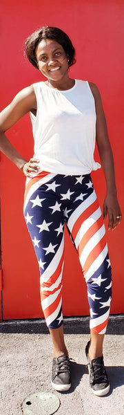 Long  Printed Legging - American Flag