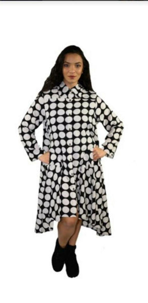 AA20-666 Printed Hi/Lo Shirt Dress - Polkadot