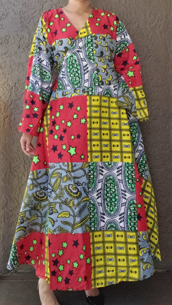 1014 - Long Wrap Dress / Long Bell Sleeves/ African Print-  Multi Color