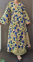 1014 - Long Wrap Dress / Long Bell Sleeves/ African Print-  Yellow Floral