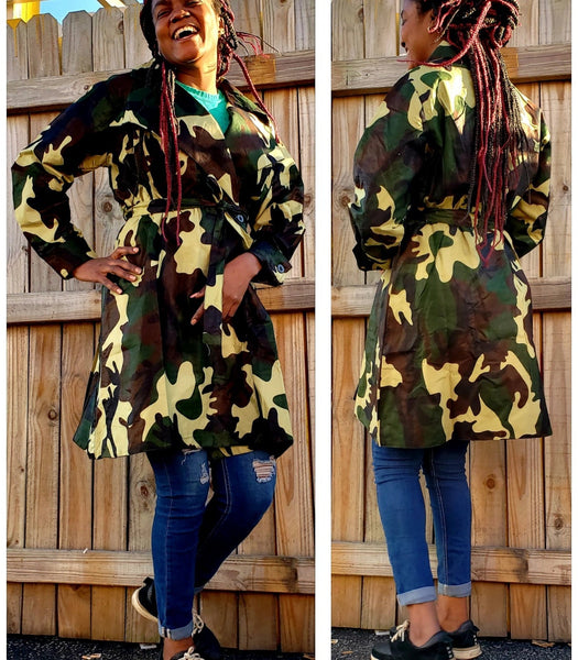 CAMOUFLAGE TRENCH COAT