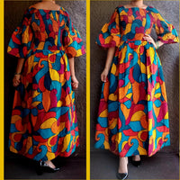 #024 Women long Printed Smocked Dress- Multi Color