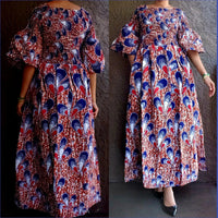 #024 Women long Printed Smocked Dress- Red/Blue