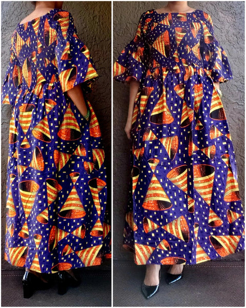#024 Women Long Printed Smocked Dress - Blue/Cone