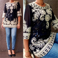 AA17683- Women sequin Embroidery Blouse