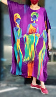 1356- Women Tribal Hand Painted Kaftan Dress