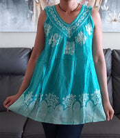Women Batik V-Neck / Sleeveless Blouse- Embroidery