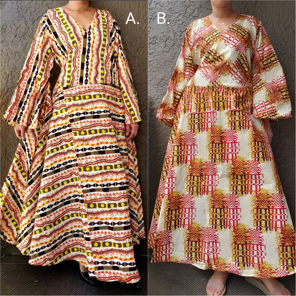 1014 - Long Wrap Dress / Long Bell Sleeves/ African Print-  Orange/Cream
