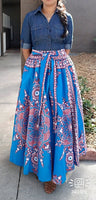 1011 Women Long Maxi Skirt- Traditional Print