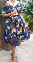 Woman Wax Print Mid Length Skirt