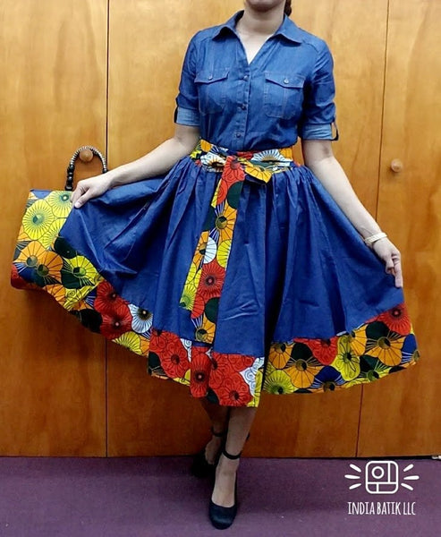 #46- Women Mid Length Flared Skirt-Denim/ Printed Border
