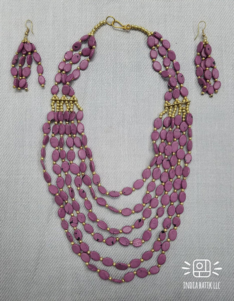 BEADED LAYERED NECKLACE & EARRINGS  SET / VIOLET