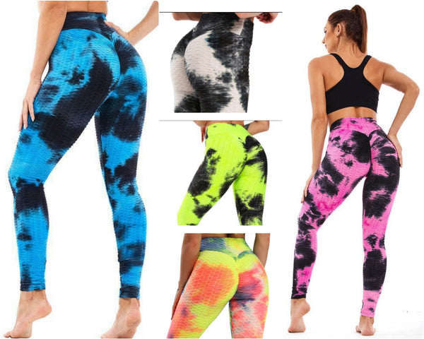 5514-  TikTok  Leggings/Ruched/  Butt Lifting /High Waisted /Yoga - Tiedye