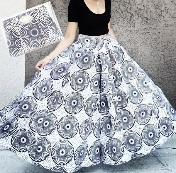 Long  Skirt and Pocketbook Set/ Printed - White-Black