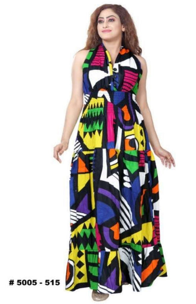 3028L Women Long  Smocked Dress- Bold Print
