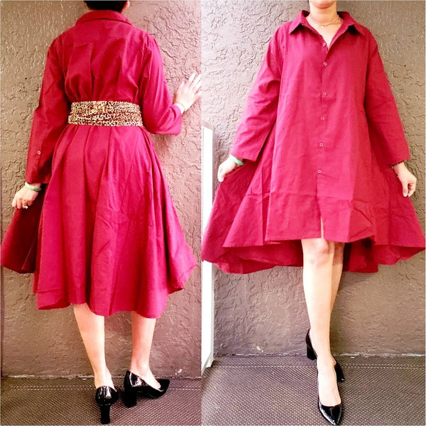 #7042 Women  Button Down Shirt/ Dress - Burgundy