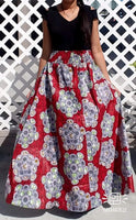 A- LINE LONG MAXI SKIRT / ETHNIC PRINT #1349