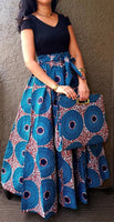 Women Long Skirt & Pocketbook Set-Blue/Brown