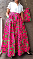 Women Long Skirt & Pocketbook Set- Fuchsia/Green
