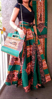 Women Long Skirt & Pocketbook Set-Green