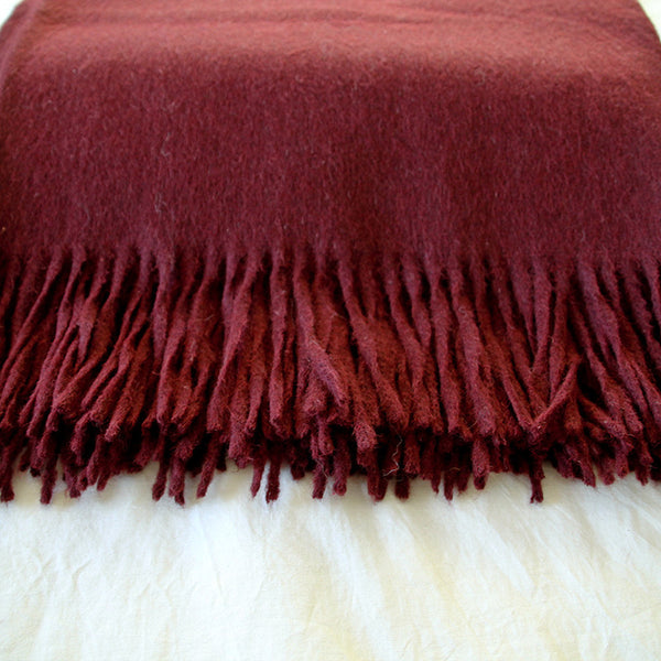 Burgundy Alpaca Wool Throw