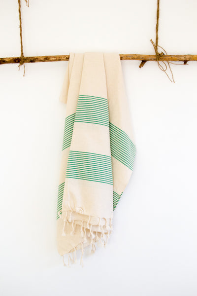 Cotton Pestemal in Ecru and Green Stripes