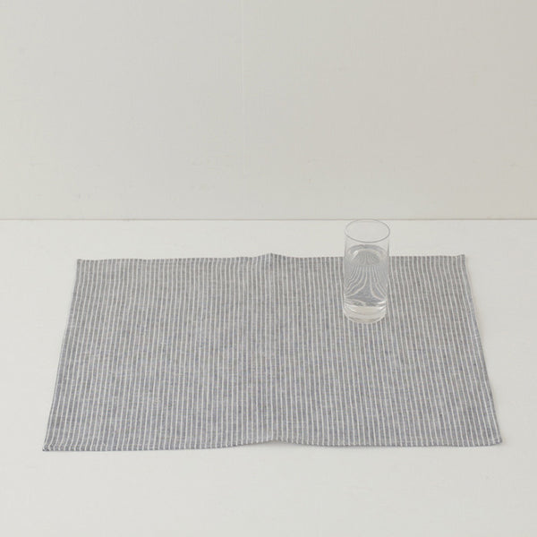 Fog Linen Grey Thin Stripe Linen Place Mat