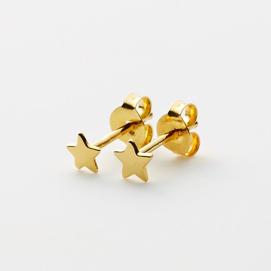 Pinkloulou Star Mini Earrings in Gold Plate