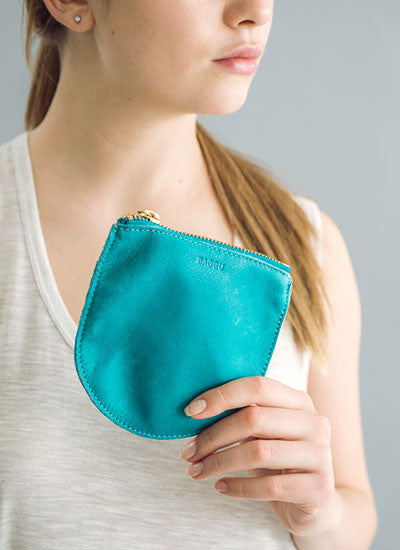Baggu Small Leather Pouch - Turquoise