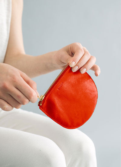 Baggu Small Leather Pouch - Poppy
