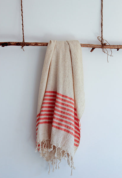 Semi-Striped Linen Pestemal with Coral Stripes