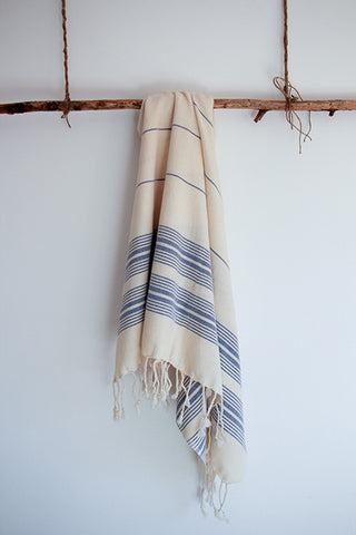 Cotton Pestemal in Dark Blue Stripes on Ecru