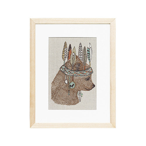 Coral & Tusk Bear Embroidered Artwork
