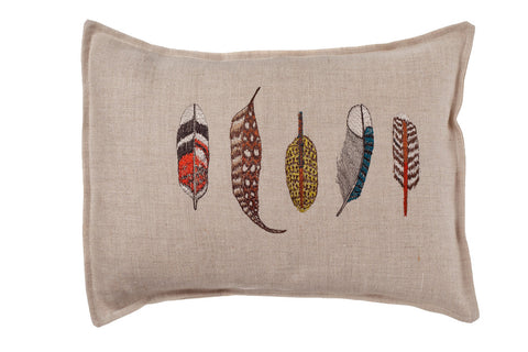 Coral & Tusk Small Feather Embroidered Cushion