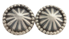 Load image into Gallery viewer, Navajo Native American Concho Style Silver Cuff Links by Lee SKU222763