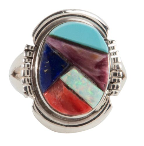 Navajo Native American Turquoise and Lab Opal Ring Size 8 1/2 SKU223615