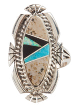 Load image into Gallery viewer, Navajo Native American Turquoise and Jasper Ring Size 5 1/4 by Tom SKU223637